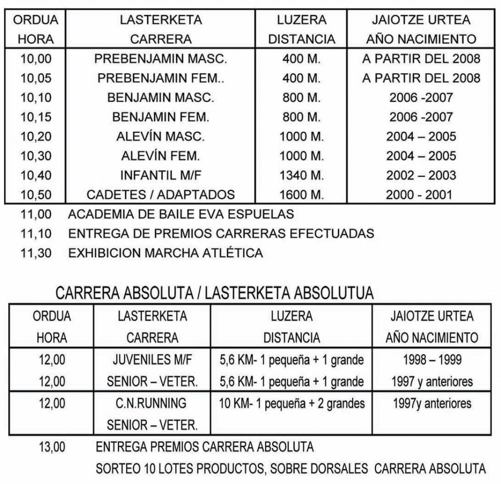 carreras-horarios-camino-de-santiago-2015